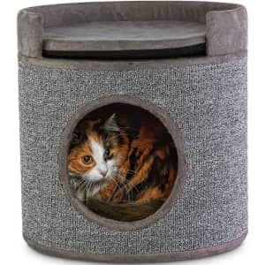 You & Me Cozy Cottage Cat Condo with Perch and Cushion for $27