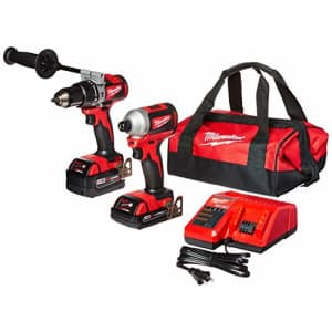 Milwaukee 2893-22CX M18 18V Lithium-Ion Brushless Cordless Hammer Drill/Impact Combo Kit (2-Tool) for $250