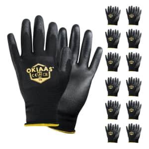 Okiaas Polyurethane Work Gloves 12-Pack for $10