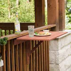 Leisure Season Wall Mounted Drop Leaf Table - Brown - 1 Piece - Collapsible Wooden Outdoor Floating for $117