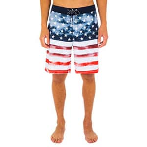 "Hurley Men's Phantom Patriot Cheers 20"" Board Shorts, White, 28 for $58"