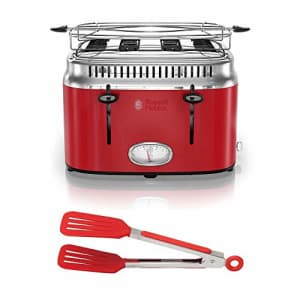 Russell Hobbs 4-Slice Stainless Steel Retro Style Toaster (Red) with 8-Inch Nylon Flipper Tongs for $48