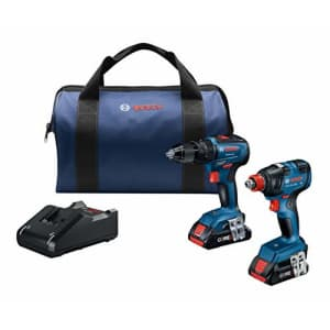 Bosch GXL18V-233B25 18V 2-Tool Combo Kit with 1/2 In. Hammer Drill/Driver, Freak 1/4 In. and 1/2 for $299