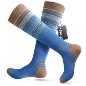 OutdoorMaster Ski Socks 2-Pack Merino Wool, Non-Slip Cuff for Men & Women - Blue,M/L for $27