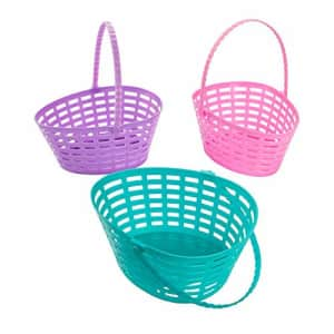 Fun Express Egg Shaped Cutout Plastic Baskets for Easter - Set of 12 - Easter Hunt Party Supplies for $25