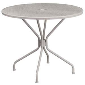 """Flash Furniture Commercial Grade 35.25"""" Round Light Gray Indoor-Outdoor Steel Patio Table for $152"""