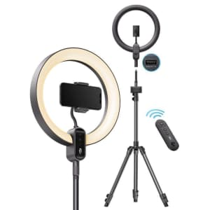 TaoTronics 12'' Ring Light with 78'' Tripod Stand for $76