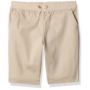 Nautica Girls' School Uniform Stretch Bermuda Short, Khaki Pull-On, 12 Plus for $13