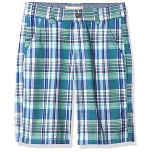 Nautica Boys' Flat Front Shorts, Cobalt Green Plaid, 10 for $21