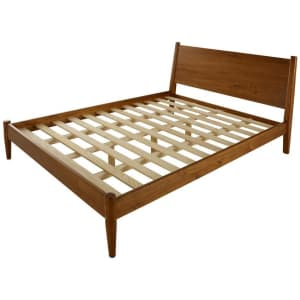 Camaflexi Mid-Century Modern Solid Wood Queen Panel Platform Bed for $386