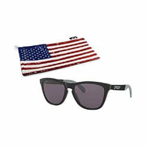 Oakley Frogskins Mix Sunglasses (Matte Black Frame, Prizm Grey Lens) with Country Flag Microbag for $100