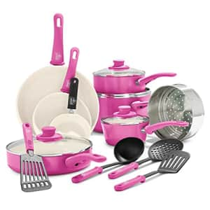 GreenLife Soft Grip Healthy Ceramic Nonstick, Cookware Pots and Pans Set, 16 Piece, Bright Pink for $205