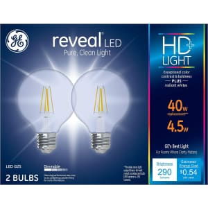 GE Reveal HD+ 40W Replacement Dimmable LED Light Bulb 2-Pack for $10