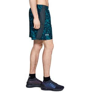 Under Armour Men's Launch Stretch Woven 7-inch Printed Shorts, Wire (073)/Reflective, Small for $70