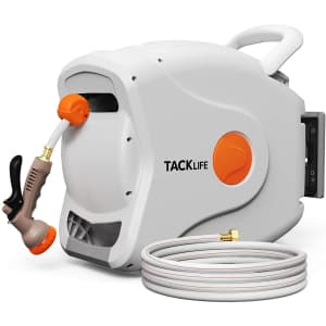 Tacklife 100-Foot Wall-Mounted Retractable Garden Hose Reel for $84 in cart