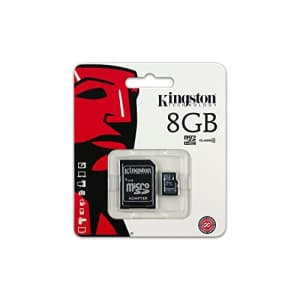 Kingston 8GB Class 4 MicroSDHC Card Flash Memory with SD Adapter SDC4/8GB for $11