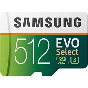 SAMSUNG EVO Select 512GB microSDXC UHS-I U3 100MB/s Full HD & 4K UHD Memory Card with Adapter for $55
