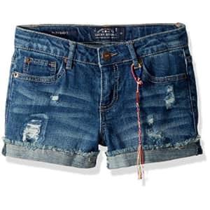 Lucky Brand Big Girls' 5-Pocket Cuffed Stretch Denim Short, Ronnie Ada wash, 8 for $28