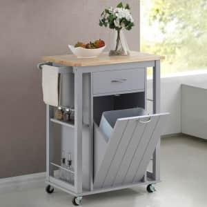 Baxton Studio Yonkers Hardwood-Top Kitchen Cart for $175