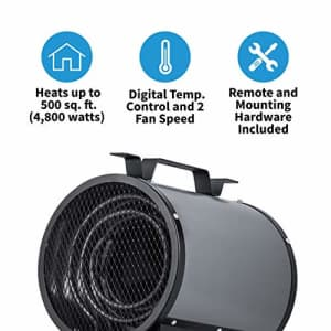 NewAir, NGH500GA00, 2-in-1 240V 4800 Watt Portable or Mountable Garage Heater, Heats Up to 500 for $197