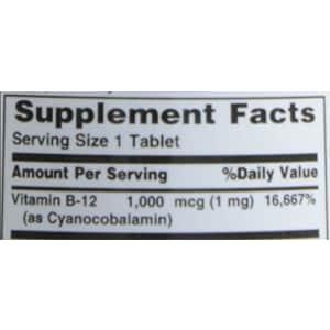 Nature's Bounty Vitamin B-12 1000 mcg Tablets 100 ea for $5