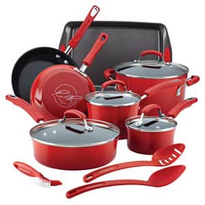 Rachael Ray Brights Nonstick Cookware Pots and Pans Set, 14 Piece, Red for $255