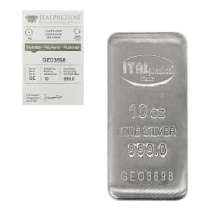 10-oz. Italpreziosi Italian Silver Cast Bar w/ Assay for $260