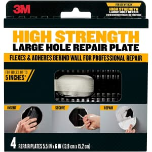 3M High Strength Large Hole Repair Plate 4-Pack for $15