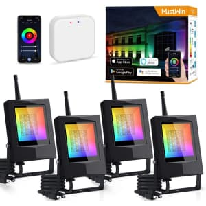 MustWin Bluetooth Mesh LED Smart Flood Light 4-Pack for $150