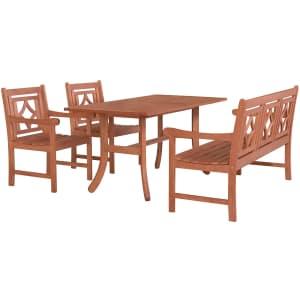Vifah Malibu Outdoor 4-Piece Patio Dining Set for $483