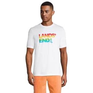 Lands' End Men's Short Sleeve Super-T Pattern Logo T-Shirt for $5