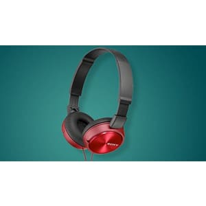 Sony Foldable Headphones with Smartphone Mic and Control - Metallic Red for $25
