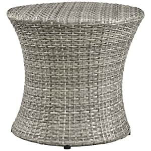 Modway Stage Wicker Rattan Outdoor Patio Side End Table in Light Gray for $145
