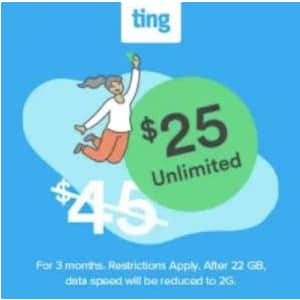 Unlimited Data at Ting Mobile: for $25 per month for first 3 months
