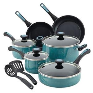 Paula Deen Riverbend Nonstick Cookware Pots and Pans Set, 12 Piece, Gulf Blue Speckle for $120