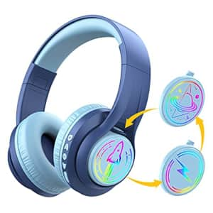 iClever TransNova Replaceable Plate Bluetooth Headphones, Colorful RGB Light Up 74/85/94dB Volume for $40