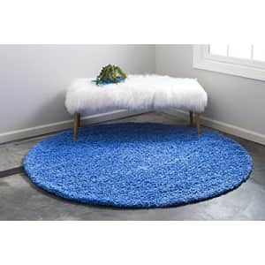 Unique Loom Solo Solid Shag Collection Area Modern Plush Rug Lush & Soft, 3' 3 x 3' 3 Round, for $25