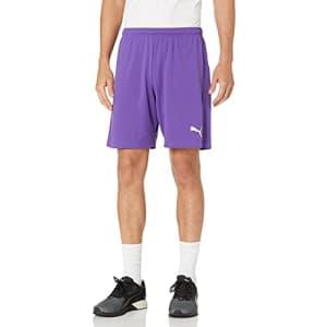 PUMA Men's Liga Shorts, Prism Violet/White, L for $16
