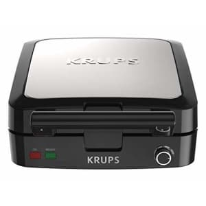 KRUPS Belgian Waffle Maker, Waffle Maker with Removable Plates, 4 Slices, Black and Silver for $60
