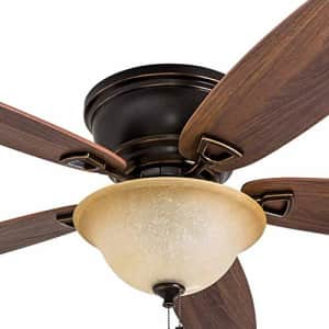 Honeywell 50517-01 Quick-2-Hang Hugger Ceiling Fan, 52 Dimmable LED Sunset Fixture, Easy for $109