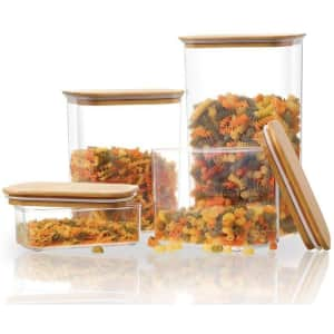 StyleWell Rectangle Canister w/ Bamboo Lids 4-Piece Set for $16