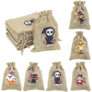 Tenacitee 42-Piece Halloween Burlap Drawstring Bag for $10