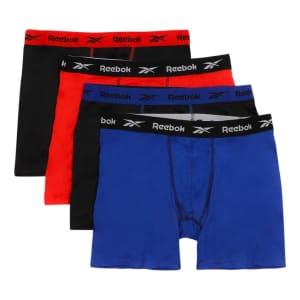 Reebok Men's Vector Performance Boxer Briefs 4-Pack for $12