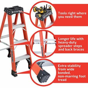 Louisville Ladder 4-Foot Fiberglass Step Ladder, 375-Pound Capacity, FS1404HD for $181