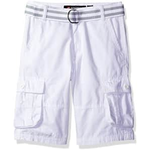 Southpole Boys' Belted Mini Canvas Cargo Shorts in Various Colors, White, 10 for $15