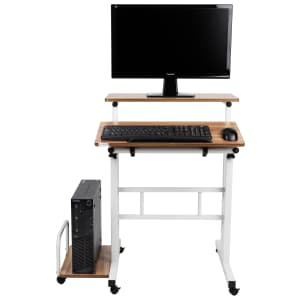 Mind Reader 2-Tier Adjustable Sit and Stand Mobile Workstation Desk for $30