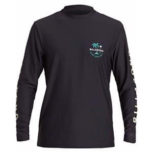 Billabong Men's Standard Classic Loose Fit Long Sleeve Rashguard Surf Tee Shirt, Black Vacation, L for $25