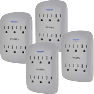 Philips 6-Outlet Extender Surge Protector 4-Pack for $20