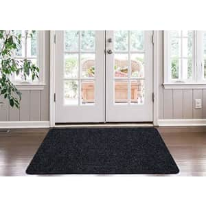 Ottomanson LIFE SAVER Collection Non-slip Indoor/Outdoor Solid Ribbed Design Area Rug, 3'X5', Black for $44