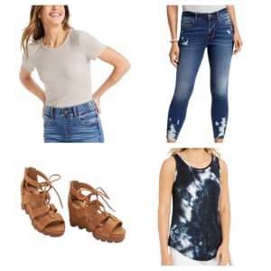 24/7 T-Shirts and Tanks, Jeggings, and Sandals at Maurices: buy 1, get 50% off 2nd